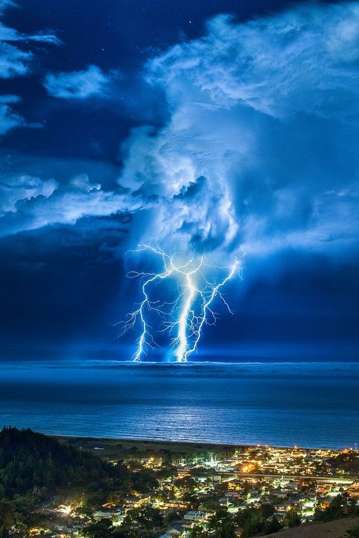 Lightning Strike over the Pacific by Craig Hudson