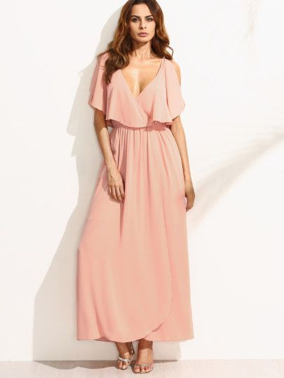 Pink Deep V Neck Ruffle Sleeveless Maxi Dress