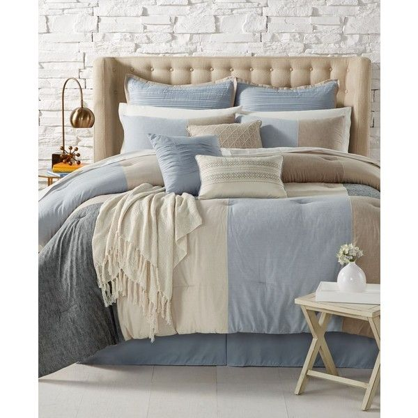 Clinton 14-Pc. King Comforter Set ($180) ❤ liked on Polyvore featuring home, bed & bath, bedding, comforters, king sham, blue comforter sets, contemporary comforter sets, blue comforter and king comforter