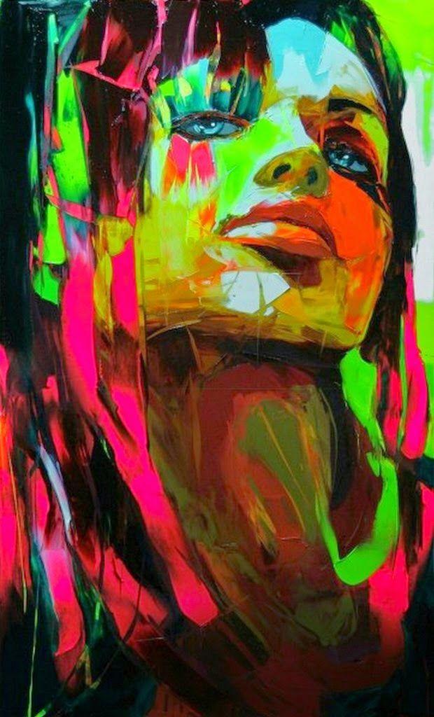 Pintura y Fotografía Artística : Rostros Humanos Pintados con Espátula, Francoise Nielly (Francia)