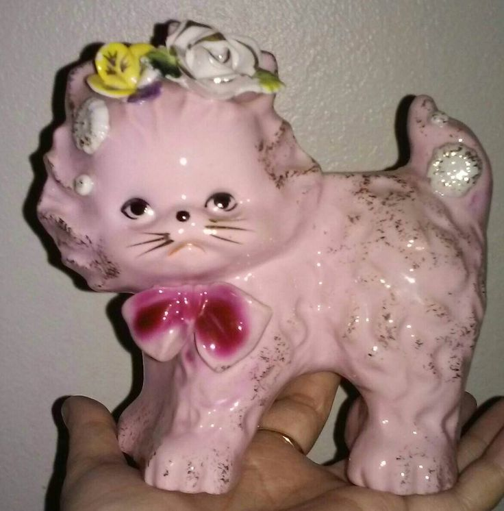 Antique Wales pink kitsch cat vase,Japan cat Planter,kitsch pink floral kitty Figurine, Porcelain Floral pale pink Cat Gold Highlights vase by createArt2love on Etsy https://www.etsy.com/listing/516923175/antique-wales-pink-kitsch-cat-vasejapan