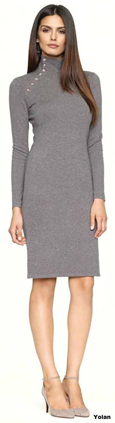 Ralph Lauren ~ Mockneck Cashmere Dress, Grey