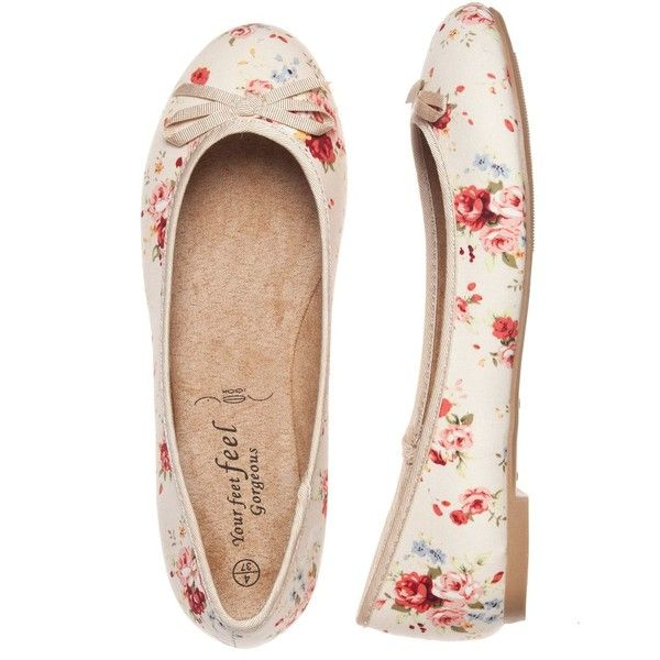 Wide Fit Pink Floral Ballet Pumps ($15) ❤ liked on Polyvore