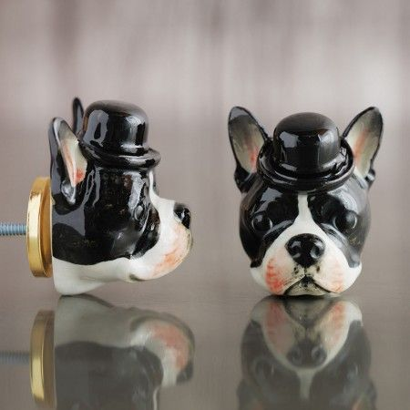 Boston Terrier Head Ceramic Knob