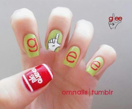 Glee nail artGlee Nails, Pop Culture, Nails Art, Nailart, Nails Design, Awesome Nails, Nailsart, Nails Ideas, Creative Nails
