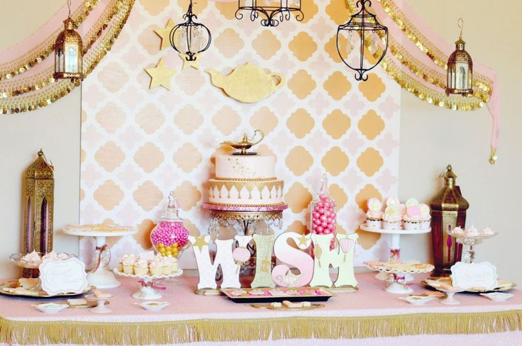 """Make a Wish"" Genie Theme Party: Birthday Parties Theme, Genie Parties, Gold Birthday Parties, Girls Birthday Parties, Projects Nurseries, Parties Ideas, Pink And Gold, Birthday Ideas, Catchmyparti With"