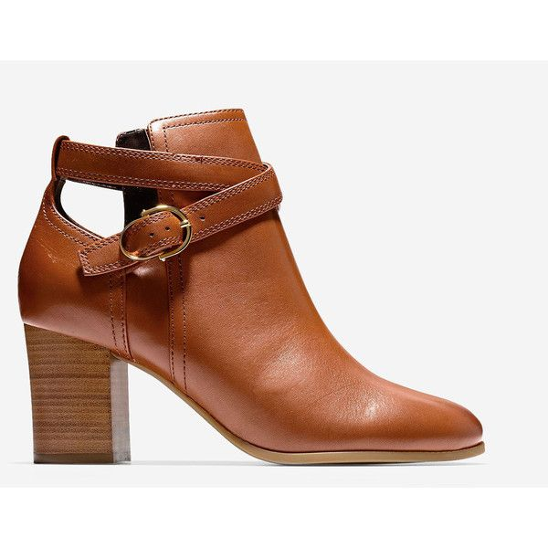 Cole Haan Womens Bonnell Bootie ($220) ❤ liked on Polyvore featuring shoes, boots, ankle booties, acorn leather, leather motorcycle boots, leather high heel boots, cole haan boots, leather ankle boots and buckle booties