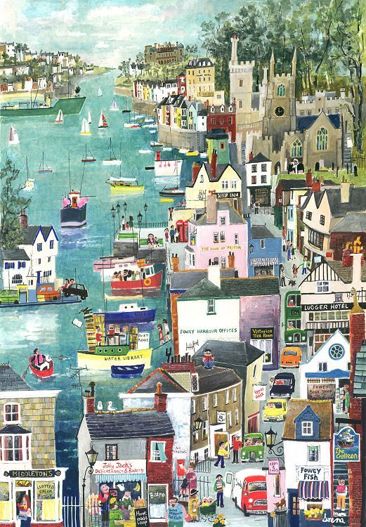 Riverside at Fowey (S13) - Prints - Serena - Cornwall Art Galleries