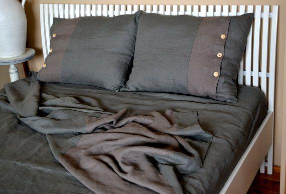 Gray brown linen bed setlinen duvet cover  linen by LinenHouseArt