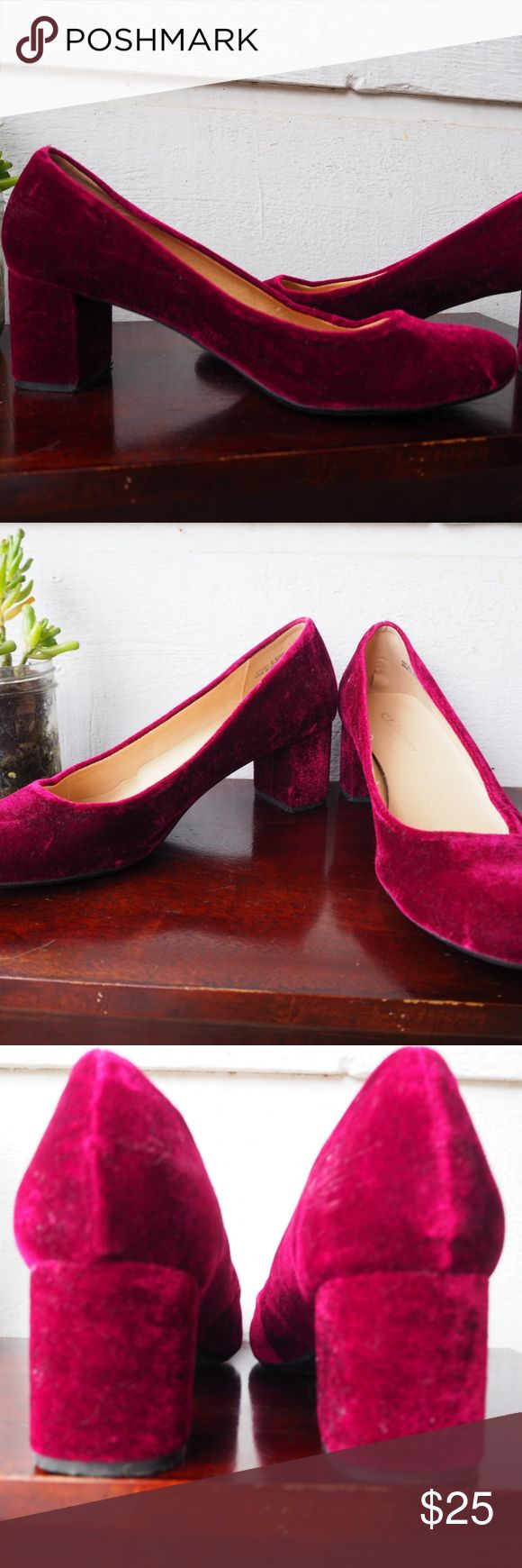 Maroon Velvet Chunky Heels! Only worn once! Cl by Laundry hills, in great condition!   All reason offers welcomed! Chinese Laundry Shoes Heels