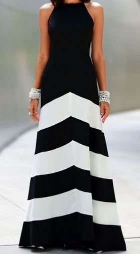 So Gorgeous! Love this Dress! Black + White Striped Sleeveless Maxi Dress #Black #Whites #Stripes #Elegant #Maxi #Dress #Fashion