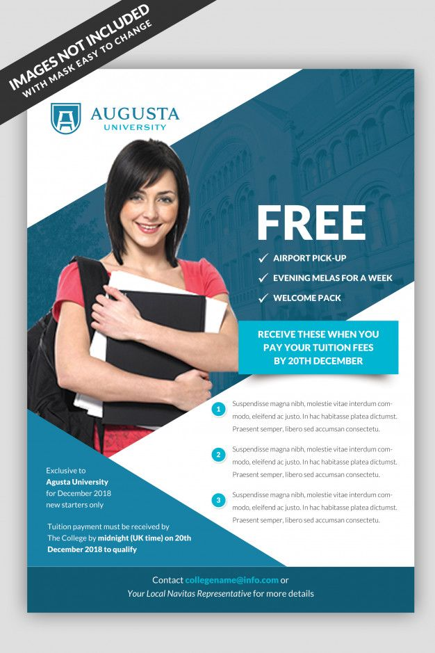 University Flyer Template Premium Psd Education Poster Design Flyer University Brochures