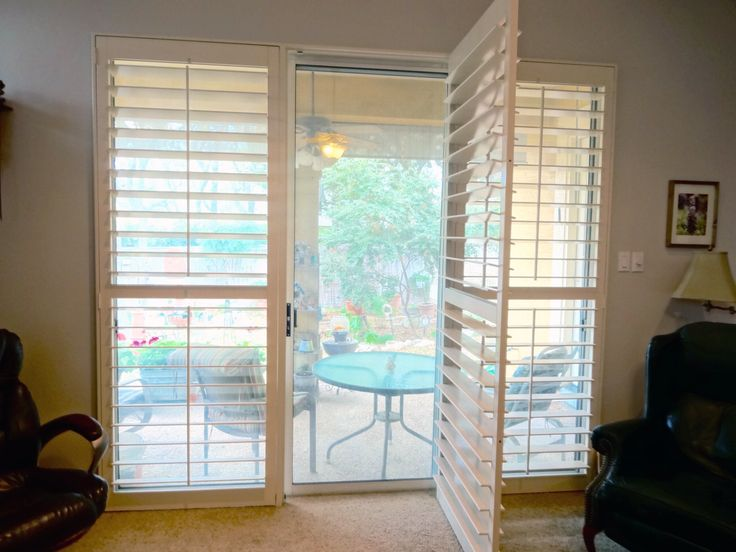 still enjoy the of the sliding glass door with shutters wide enough to walk thru