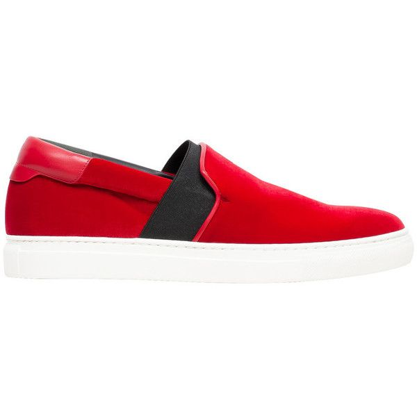 Balenciaga Multimaterial Velvet Slip On Sneakers (167.195 HUF) ❤ liked on Polyvore featuring shoes, sneakers, red, red trainer, velvet shoes, balenciaga trainers, slip on shoes and red velvet shoes