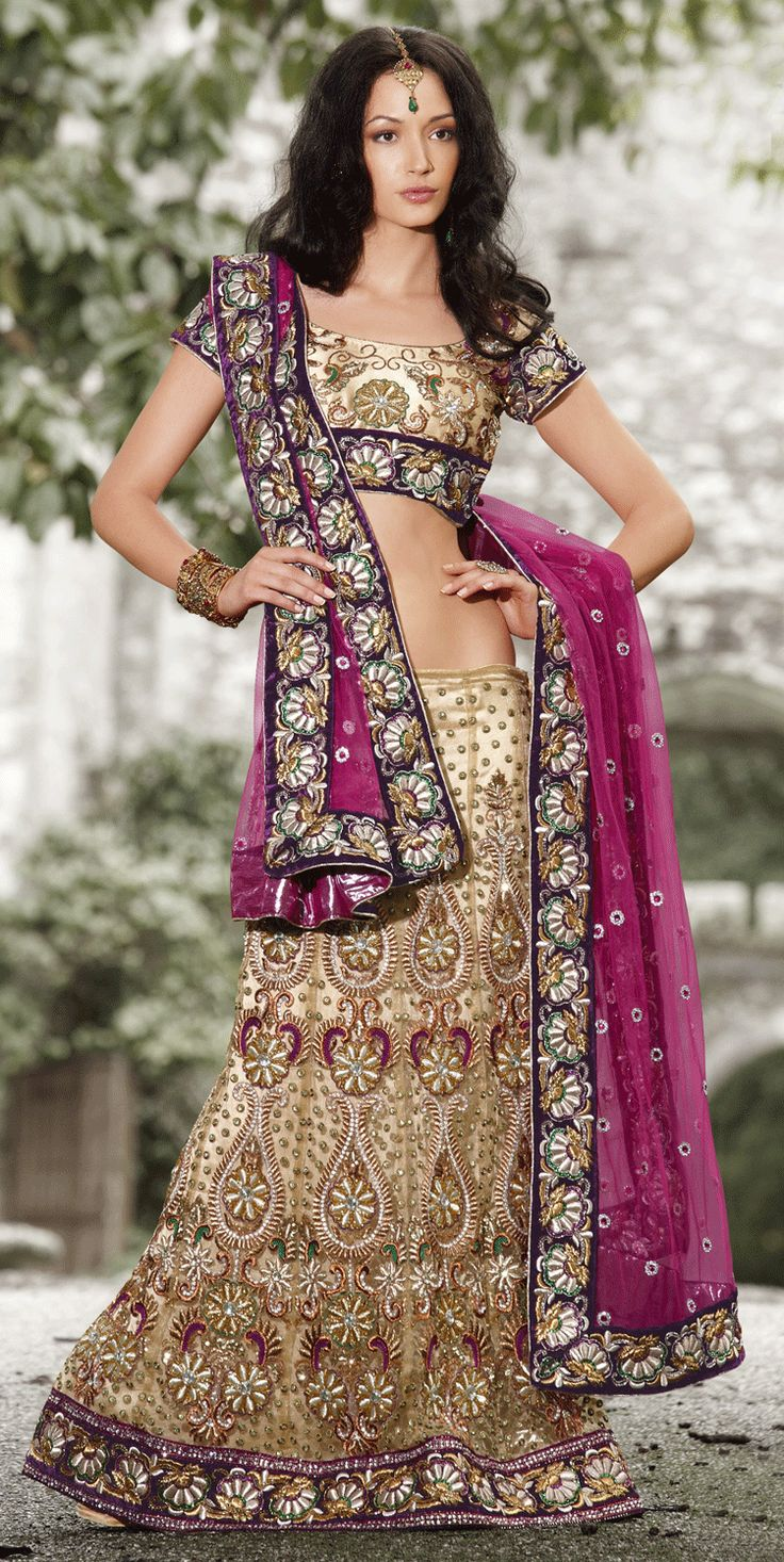 Purple, fuschia, beige lehnga love this skirt blouse Indian detailed sari