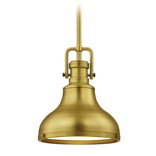 Farmhouse Brass Small Pendant Light 8.63-Inch Wide at Destination Lighting