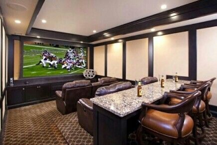 Theater room. The bar idea is different