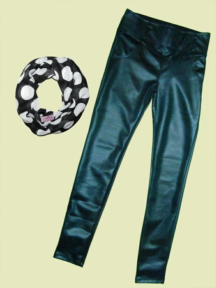 Pantalon cuero verde!