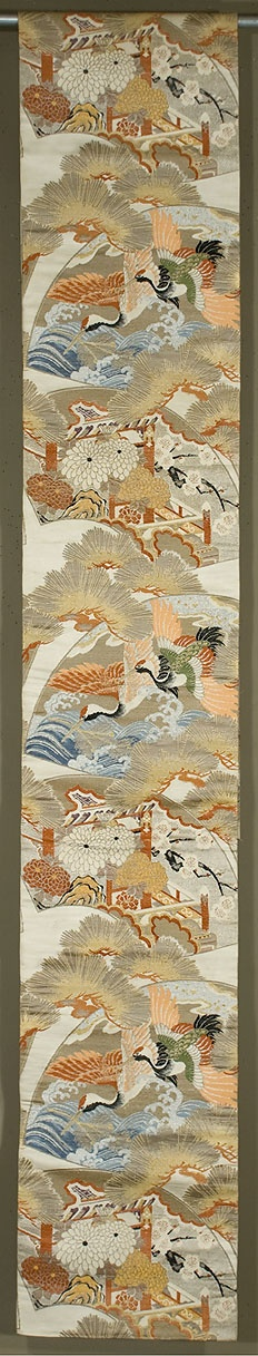 "Japanese Maru Obi  12½""x 125""  Silk and metallic brocading.  Fan motif with cranes, waves, pines.  mums, and cherry blossoms.  Ivory ground, with gold and silver metallic along with tan, blue, apricot, green, white and black silk brocading: Maru Obi, Silk Brocade, 079 Obi, Japanese Maru, Metals Brocade, Black Silk, Japanese Kimonos, Kimonos Cheongsam Obi Etc, Silver Metals"