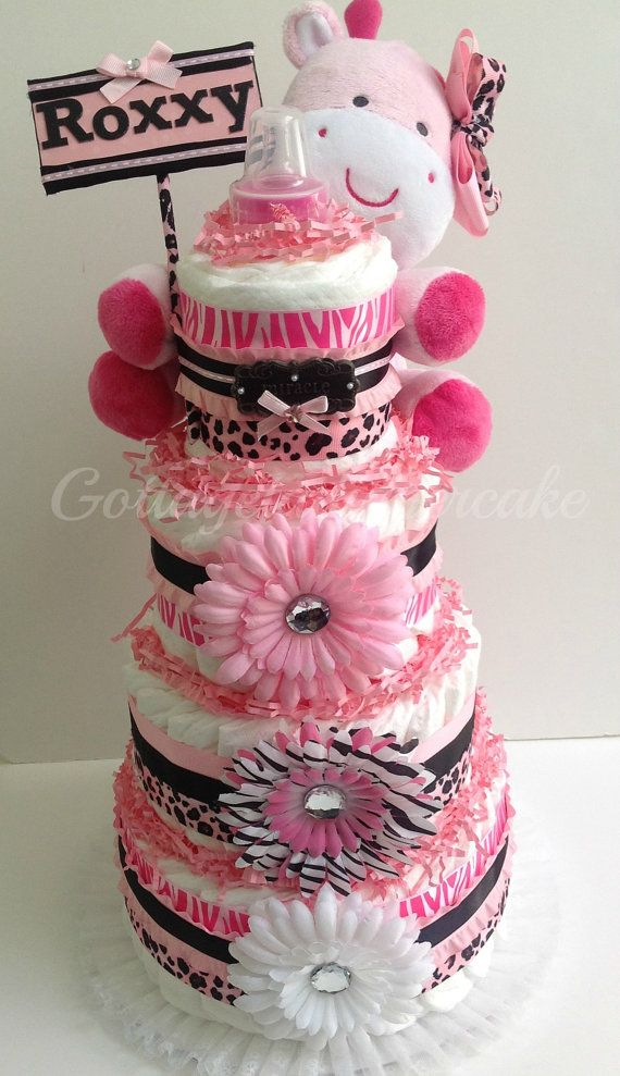Pink safari diaper cake, cheetah prints, safari theme,pink and black diapercake, centerpiece, baby shower, girls diaper cakes, nappy cakes, $70