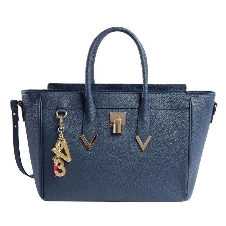 #V73 Elisir Maison Navy Leather Bag whit zip closure, Charms shown in photo included, Metal feet at the base 50 x 27 x 18 Shop now: http://www.v73.it/en/pelli-pregiate/elisir-maison