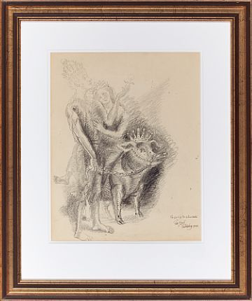 """PER KROHG AASGAARDSTRAND 1889 - OSLO 1965  """"Peer Gynt and the green-clad"""" in 1955  Pencil on paper, 39x31 cm  Signed and dated lower right: Per Krohg 1955"""