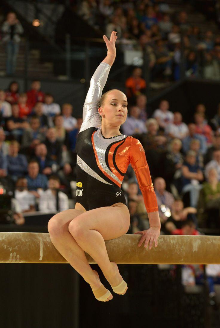 gymnastics spreading Sanne Wevers - EF beam champion Rio 2016. First Dutch gymnast to win a medal