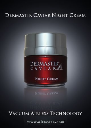Dermastir caviar night cream's myorelaxation technology produced by ALTA CARE Laboratoires is an anti-wrinkling night cream with repairing action. Skin damage caused by the sun and the pollutants is repaired by the ingredients during the night.
