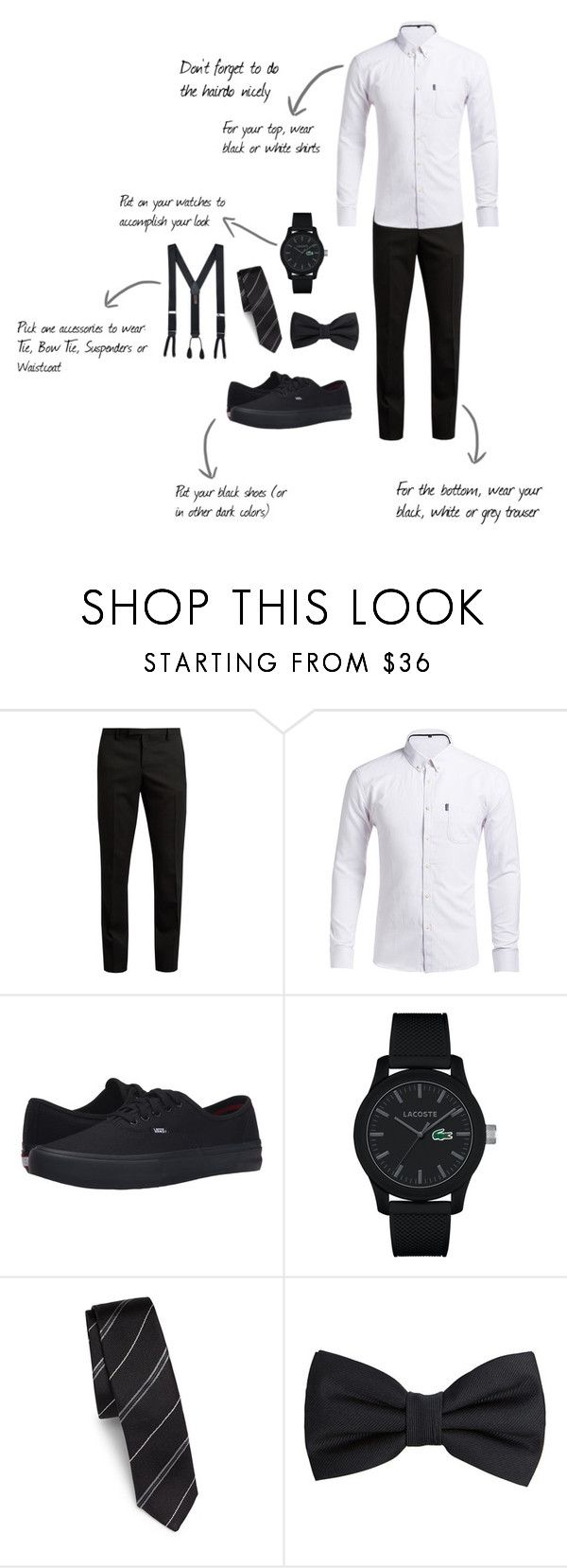 """Attire Guide Monochrome"" by krishnantidewi on Polyvore featuring Yves Saint Laurent, Vans, Lacoste, Dolce&Gabbana, MANGO MAN, Trafalgar, men's fashion and menswear"