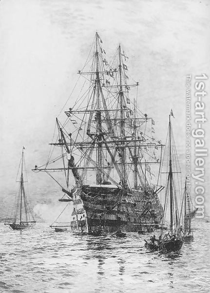 H.M.S. Victory firing a salute (illustrated) by William Lionel Wyllie