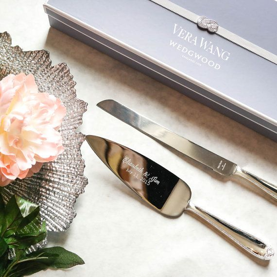 Wedgwood Vera Wang Infinity Cake Knife and Server Set - Custom Engraved Wedding Cake Server and Knife SET - Personalized Wedding Gift - Let's Tie The Knot on Etsy