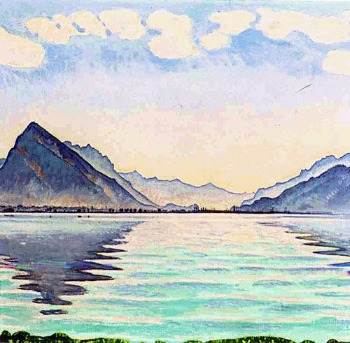 Ferdinand Hodler Het meer van Thun. Prachtige kleuren, zo zacht en het roze in de lucht maakt het nog mooier.