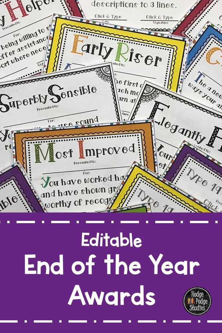 Here are some editable awards to celebrate your students unique accomplishments. These rewards are great for the end of the year.