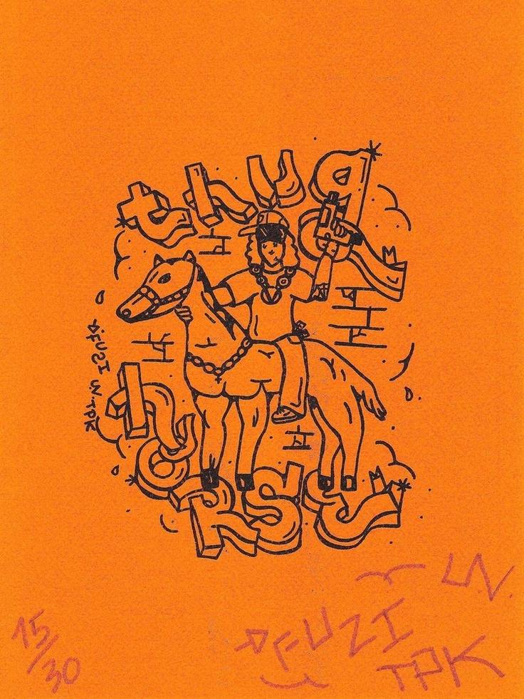 Thug-horse   by Fuzi UV-TPK  Black risography print   on 150g orange paper   A4 format