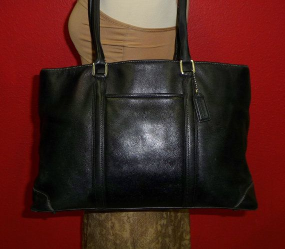 Vintage Coach Hamptons Large Black Leather Tote Carryall