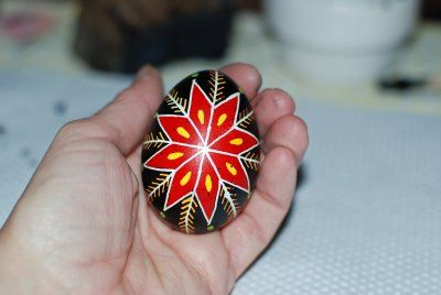 This is a Pysanky - a Ukrainian Egg  from That Artist Woman.org  I pinned this egg to my Stones board for the design idea.