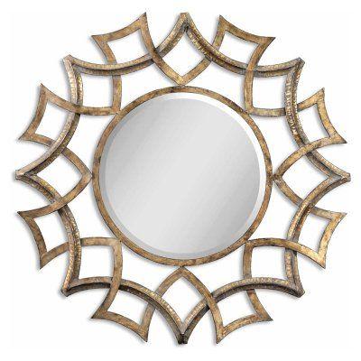 Uttermost Demarco Antiqued Gold Metal Decorative Wall Mirror - 40.25 diam. in. - 12730 B