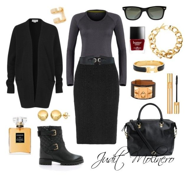 """""""Pencil dark grey"""" by judith-molinero-fashion on Polyvore featuring Kate Spade, Amanda Wakeley, Alexander McQueen, Pluma, Hermès, Shashi, H&M, Chanel, Ray-Ban and Butter London"""