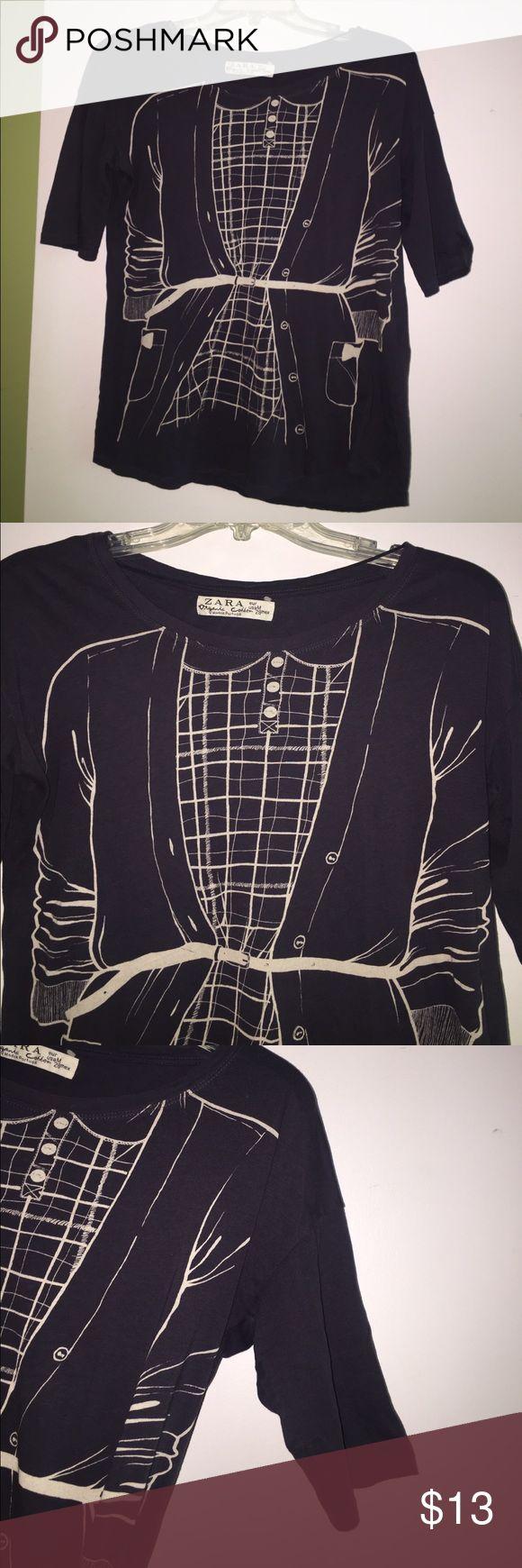 Zara tshirt Cute Zara tshirt. Short sleeves and fun design on the front! Extremely comfortable 100% cotton Zara Tops Tees - Short Sleeve