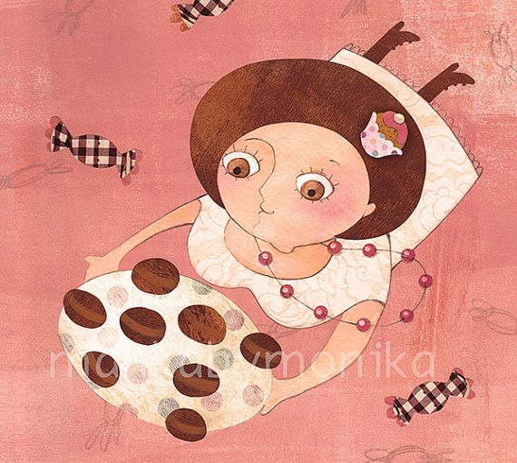 Marie Bonbon print rose cute sweet cupcake wall by mankabymonika, $26.00