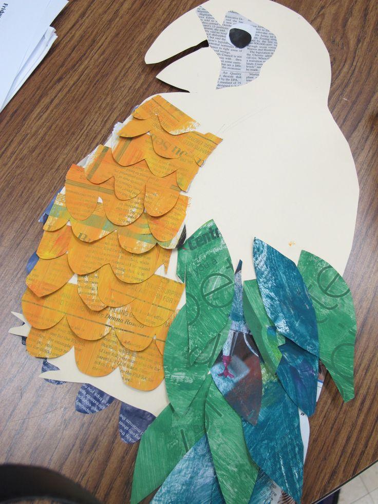 collaged rainforest birds
