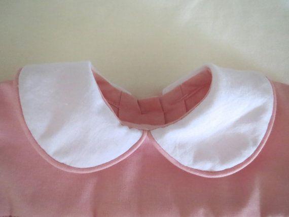 Hermosa mano luz de color rosa y blanca Smocked vestido para