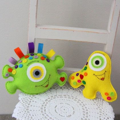 Cute colorful stuffed monster