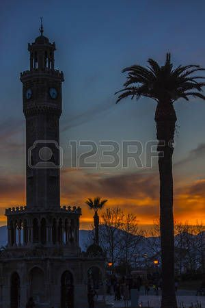 Red sunset at the clock tower of Izmir (Turkey)