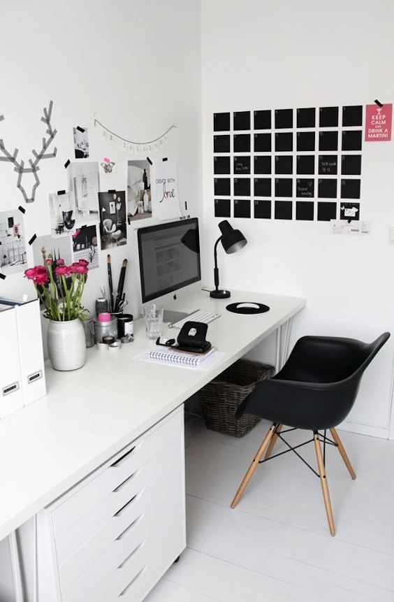 white gloss desk and black eames chair