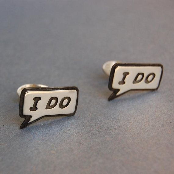 Mens Sterling silver wedding cufflinks I DO by beaujangles on Etsy, $45.00