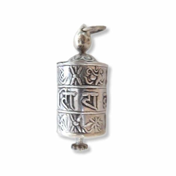 Himalayan Treasure | Silver Mani amulet charm pendant  | Studio Art Style | Hanger | handmade | Nepal