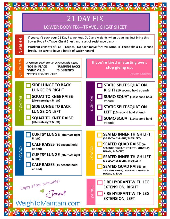 21 Day Fix Workout – Lower Body Fix Printable PDF – Travel Cheat Sheet
