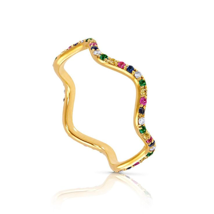 Sabine Getty Baby Memphis Wave ring in yellow gold and coloured gemstone additions. The fun, fashion forward and luxury jewellery collection with wearability and stickability at its centre: http://www.thejewelleryeditor.com/jewellery/top-5/sabine-getty-baby-memphis-jewellery-collection-top-5/ #jewelry