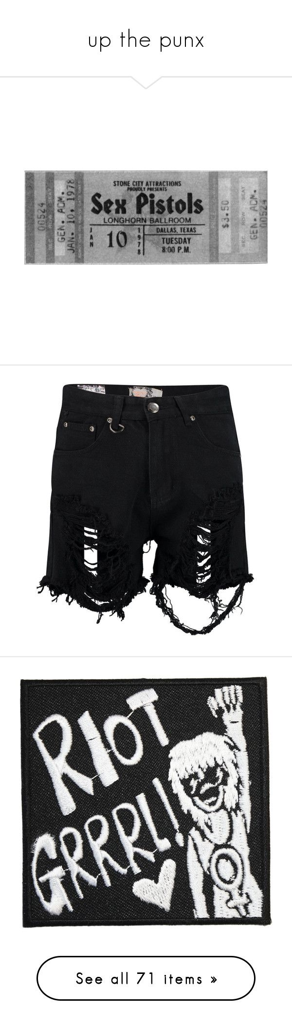"""""""up the punx"""" by pythoness ❤ liked on Polyvore featuring fillers, music, tickets, accessories, backgrounds, shorts, bottoms, short, destroyed denim shorts and high waisted ripped shorts"""